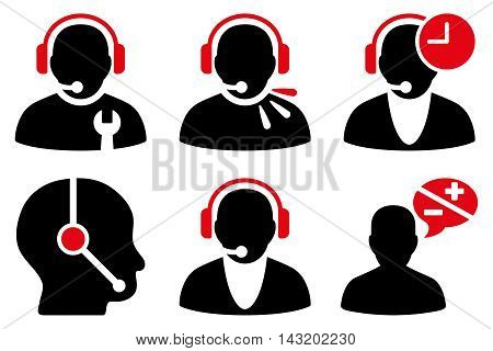 Call Center Operator vector icons. Pictogram style is bicolor intensive red and black flat icons with rounded angles on a white background.
