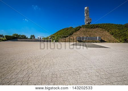 GdanskPoland-September 192015:Westerplatte. Monument commemorating first battle of Second World War and Polish Defense in 1939