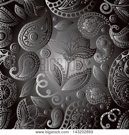 Elegant modern grey paisley ornamental floral vector seamless pattern background with vintage decorative volumetric  line art flowers and paisley ornaments.Stylish  illustration and 3d decor elements with shadow and highlights. Endless elegant  texture.
