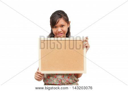 Asian thailand girl smile holding blank board isolated on white background with copy space. Board with blank can add your text or others. clipping path in picture.