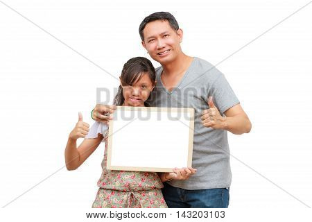 Asian thailand father and daughter smile holding blank board isolated on white background with copy space. Board with blank can add your text or others. clipping path in picture.