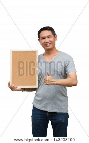 Asian thailand man middle age smile holding blank board isolated on white background with copy space. Board with blank can add your text or others. clipping path in picture.