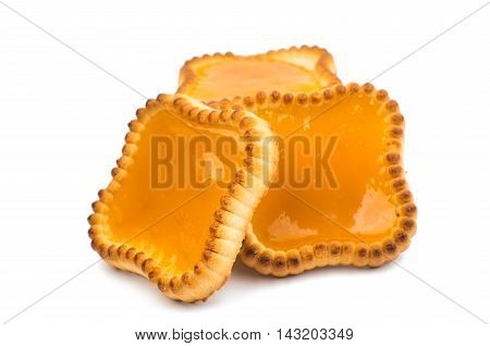 jam traditional tartlets isolated on white background.