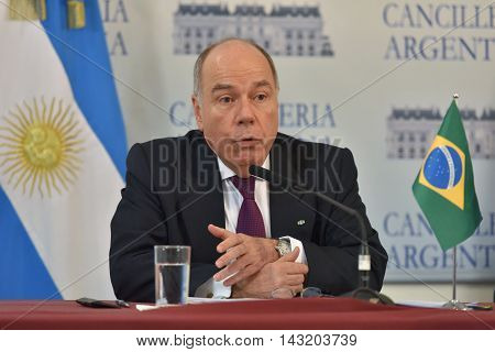 Buenos Aires Argentina - January 14 2016: Brazil's Foreign Minister Mauro Vieira during a press conference after meeting with Argentine Foreign Minister Susana Malcorra in Buenos Aires.