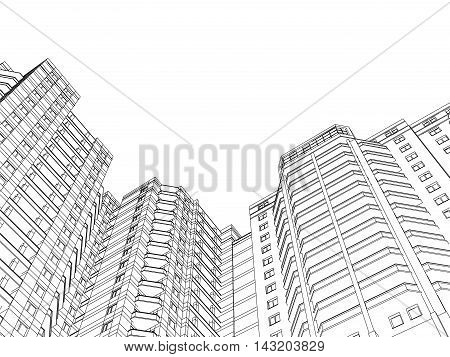 Vector illustration of houses. Perspective 3d wireframe of building. EPS 8.