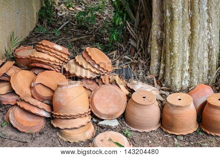 Clay pots. Potted plants group of empty terracotta pots in garden.