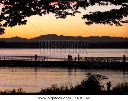 Sunset Over Lake, Mountains & Fishermen