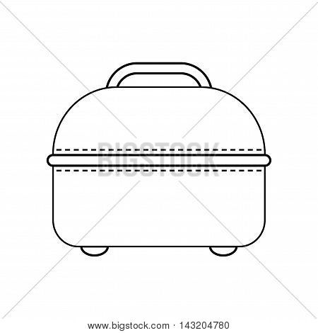Icon of travel bag. Carry on baggage. Flat linear object isolated. Vector illustration
