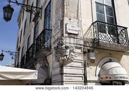 LISBON, PORTUGAL - September 25, 2015: Beautiful decorations on the corner of some old buildings on September 25, 2015 in Lisbon, Portugal