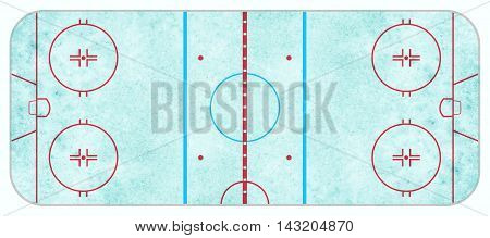 An aerial view of a blue textured ice hockey rink with regulation lines.