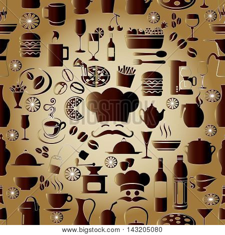 Light brown modern vector seamless pattern background with volumetric cafe restaurant cook symbols, signs and icons. Stylish luxury 3d elements with shadows and highlights. Endless texture.