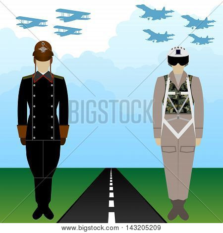 Russian military pilots in the old and modern uniforms. The illustration on a white background.