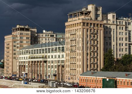 Moscow Russia - Jun 19 2014: The House on the Embankment with the Moscow State Estrada Theatre at the Bersenevskaya embankment. It was completed as the Government Building for the Soviet elite.