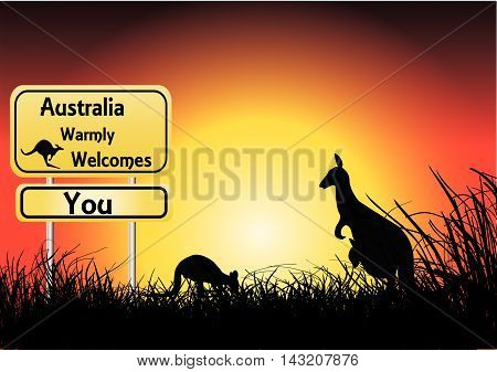 sunset with two kangaroos and welcome sign