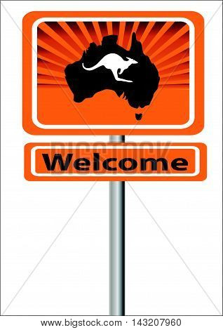 Welcome sign with map of Australia  and kangaroo with rays in background