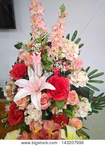 Colorful multi flower flora bouquet arrangement centerpiece