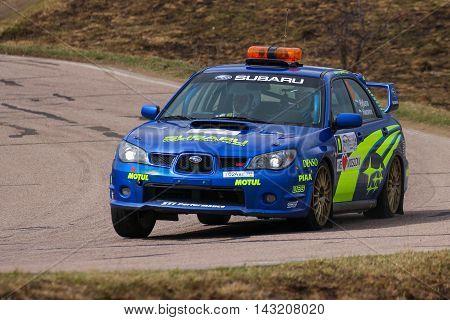 Moscow Russia - Apr 18 2015: Safety Car Subaru Impreza WRX STI during the Rally Masters Show 2015 at the Krylatskoye District.