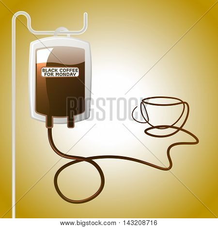Black coffee bag for Monday A refreshing boost concept art.