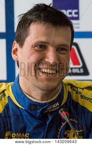 Moscow Russia - Apr 18 2015: Driver Myachin Dmitriy during a press conference after the Rally Masters Show 2015.