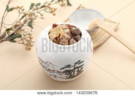 Delicacies pretenders mad monk in white bowl in asia