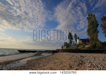 A lighthouse on the shore of Lake Michigan, in Northern Michigan