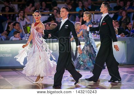 Moscow Russia - Apr 26 2015: Unidentified couples during the ballroom dance event at the 2015 Open European Professional Latin-American Championship.