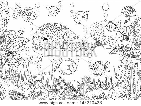 Doodles design of a little whale under the sea with beautiful corals for adult coloring book - Stock vector
