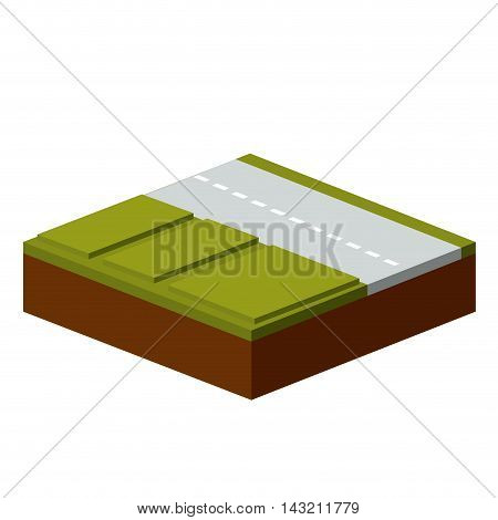 grass and road isometric icon vector illustration design