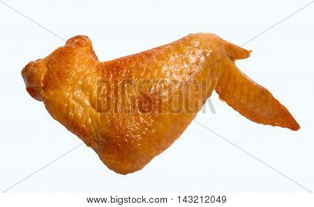 Smoked Chicken wing Isolated on a White Background