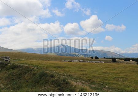 View of Maiella Mountain in the Central Apennines. Located in the region of Abruzzo, Italy.