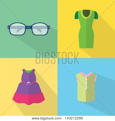 Clothes and Accessories | Set of great flat icons with style long shadow icon and use for clothes, accessories and much more.