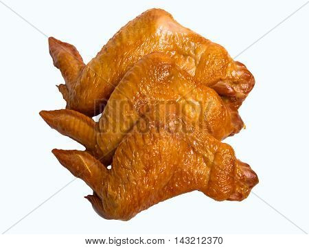 Smoked Chicken wings Isolated on a White Background