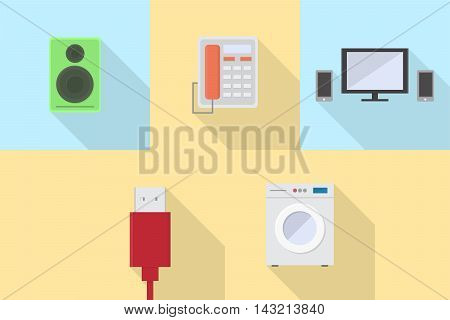 Electronics | Set of great flat icons with style long shadow icon and use for electronics, computer, equipment, interior and much more.