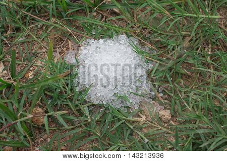 Desiccant silica gel on grass background desiccant, white, water