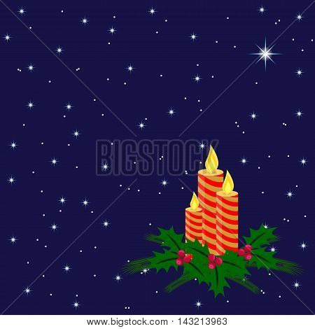 candles with fir tree branches and holly berry in the night sky with twinkling stars, illustration