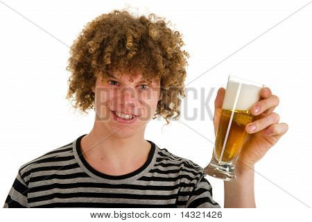 Young Boy Is Drinking Beer