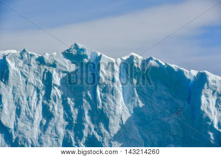 Close-up view of the Perito Moreno glacier in Patagonia Argentina.