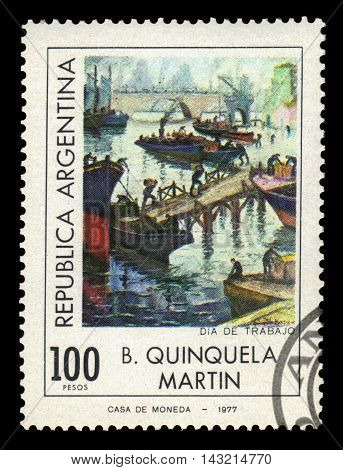 ARGENTINA - CIRCA 1977: a stamp printed in the Argentina shows labor day in port  La Boca, painting by Benito Quinquela Martin, argentinean artist, circa 1977