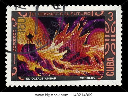 CUBA - CIRCA 1974: a stamp printed by the Cuba shows amber wave, paintings by A. Sokolov, series space of future, circa 1974