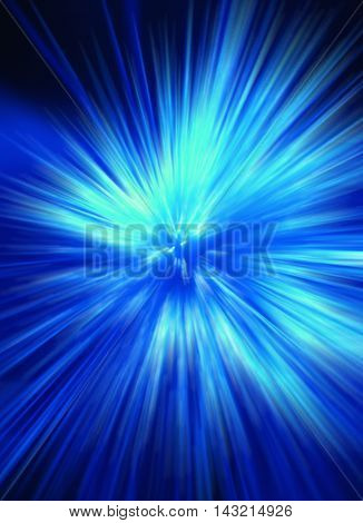 blue acceleration zoom motion on dark blackground