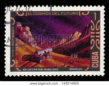 CUBA - CIRCA 1975: a stamp printed by the Cuba shows Mars crater and cosmonauts, paintings by A. Sokolov, series space of future, circa 1975