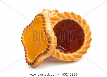 jam tartlets biscuit isolated on white background.