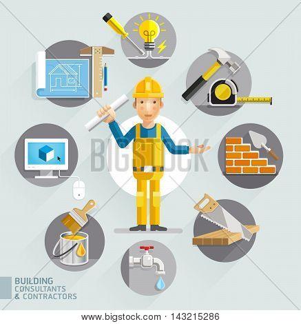 Building consultants & contractors set. Vector illustrations.