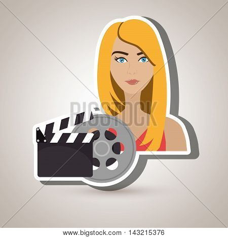 woman movie video theater vector illustration graphic