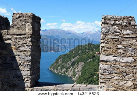 View From Castle Castello Di Vezio To Lake Como And Mountains, Lombardy, Italy