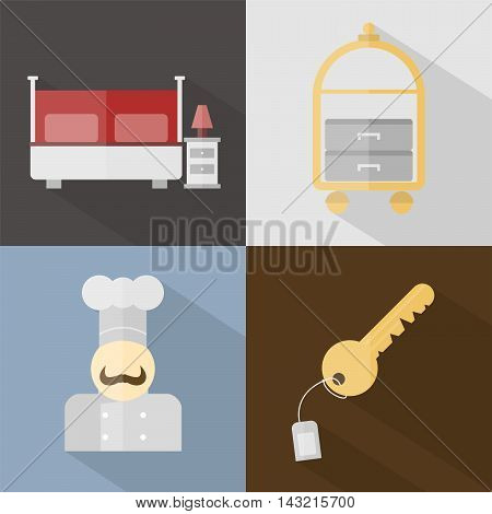 Hotel and Restaurant | Set of great flat icons with style long shadow icon and use for hotel, restaurant, vacation, event and much more.