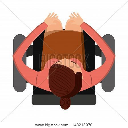 person seated in office chair vector illustration design