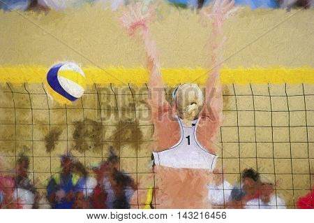 Volleyball player is a female athlete beach volleyball player rising up to battle her opponent at the net.