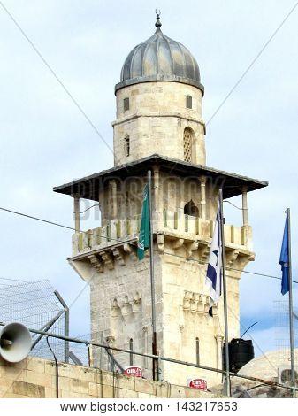 Jerusalem Israel - December 3 2012: The Ghawanima minaret of Al-Aqsa Mosque in old city.