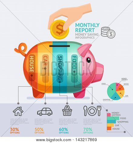 Money Saving Monthly Report Infographics Template. Vector Illustration. Can Be Used For Workflow Layout Banner Diagram Number Options Web Design